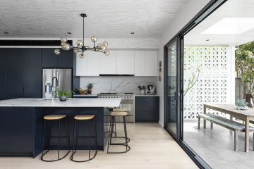 White Mid-Century Inspired Modern Home with Breeze Block Features